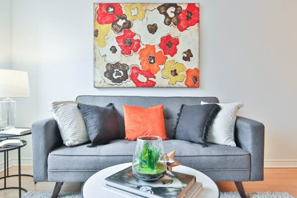 Sofa with colorful cushions